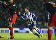 Inigo Calderon scores to make it 2-2 during the Sky Bet Championship match between Brighton and Hove Albion and Reading at the American Express Community Stadium, Brighton and Hove, England on 26 December 2014.
