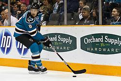 February 1, 2011; San Jose, CA, USA; San Jose Sharks center Joe Pavelski (8) skates with the puck against the Phoenix Coyotes during the first period at HP Pavilion. San Jose defeated Phoenix 5-3. Mandatory Credit: Jason O. Watson / US PRESSWIRE