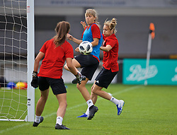 NEWPORT, WALES - Monday, September 2, 2019: Wales' Gemma Evans (L) and Kayleigh Green during a training session at Rodney Parade ahead of the UEFA Women Euro 2021 Qualifying Group C match against Northern Ireland. (Pic by David Rawcliffe/Propaganda)