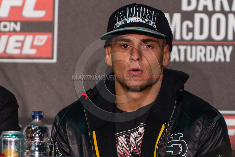 LONDON, ENGLAND, FEBRUARY 13, 2013: Dustin Poirier during the pre-fight press conference for UFC on Fuel TV 7 inside London Shootfighters Gym in Park Royal, London, England on Wednesday, February 13, 2013 © Martin McNeil