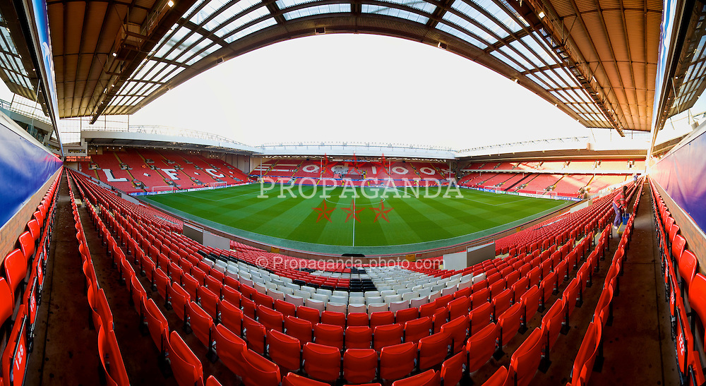 LIVERPOOL, ENGLAND - Tuesday, March 10, 2009: Liverpool Anfield stadium prepares for the UEFA Champions League First Knockout Round 2nd Leg match against Real Madrid. (Photo by David Rawcliffe/Propaganda)