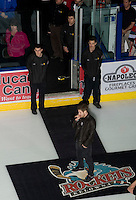 KELOWNA, CANADA, DECEMBER 2: Jeff Piatelli of Kelowna sings the national anthem as the Victoria Royals visit the Kelowna Rockets  on December 2, 2011 at Prospera Place in Kelowna, British Columbia, Canada (Photo by Marissa Baecker/Shoot the Breeze) *** Local Caption ***