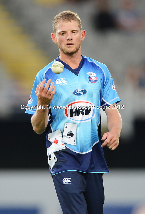 Donovan Grobbelaar during the HRV Cup Twenty20 Cricket match between Auckland Aces and Wellington Firebirds at Eden Park on Friday 28 December 2012. Photo: Andrew Cornaga/Photosport.co.nz