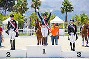 Podium Young Riders 1. Jeanine Nieuwenhuis - TC Athene, 2. Leonie Richter - Babylon 26, 3. Jil-Marielle Becks - Damon's Satelite<br /> European Championships Dressage 2016<br /> © DigiShots