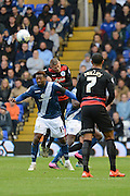 Queens Park Rangers defender Paul Konchesky out  jumps Birmingham City midfielder Jacques Maghoma during the Sky Bet Championship match between Birmingham City and Queens Park Rangers at St Andrews, Birmingham, England on 17 October 2015. Photo by Alan Franklin.