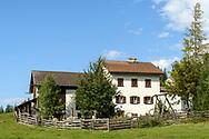 The chapel Sankt Cassian and historic farm buildings in Lenz, Parc Ela, Grisons, Switzerland
