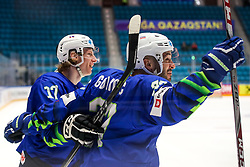 Jan Drozg of Slovenia and Bostjan Golicic of Slovenia celebrate during ice hockey match between Slovenia and Lithuania at IIHF World Championship DIV. I Group A Kazakhstan 2019, on May 5, 2019 in Barys Arena, Nur-Sultan, Kazakhstan. Photo by Matic Klansek Velej / Sportida