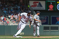Aaron Hicks #32 of the Minnesota Twins rounds 3rd base against the Seattle Mariners on June 2, 2013 at Target Field in Minneapolis, Minnesota.  The Twins defeated the Mariners 10 to 0.  Photo: Ben Krause