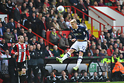 Millwall FC midfielder George Saville (23) heads forward during the EFL Sky Bet Championship match between Sheffield United and Millwall at Bramall Lane, Sheffield, England on 14 April 2018. Picture by Ian Lyall.