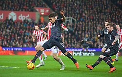 STOKE-ON-TRENT, ENGLAND - Tuesday, January 5, 2016: Liverpool's Roberto Firmino in action against Stoke City during the Football League Cup Semi-Final 1st Leg match at the Britannia Stadium. (Pic by David Rawcliffe/Propaganda)