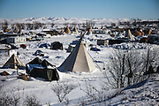 A view of the Oceti Oyate Camp on Army Corps of Engineers land bordering the Standing Rock Indian Reservation in Cannon Ball, North Dakota in January 2017.<br /> <br /> In January 2017, newly elected US President Donald J. Trump signed an executive order to advance the Keystone XL and Dakota Access pipelines clearing the efforts of the Obama administration.
