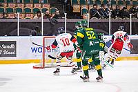 2019-10-15 | Umeå, Sweden:Västervik (20) Peter Krieger makes the next score to 1-2 in  HockeyAllsvenskan during the game  between Björklöven and Västervik at A3 Arena ( Photo by: Michael Lundström | Swe Press Photo )<br /> <br /> Keywords: Umeå, Hockey, HockeyAllsvenskan, A3 Arena, Björklöven, Västervik, mlbv191015