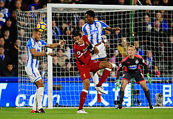 Mathias Zanka Jorgensen of Huddersfield Town clears under pressure from Joel Matip of Liverpool - Mandatory by-line: Matt McNulty/JMP - 30/01/2018 - FOOTBALL - John Smith's Stadium - Huddersfield, England - Huddersfield Town v Liverpool - Premier League
