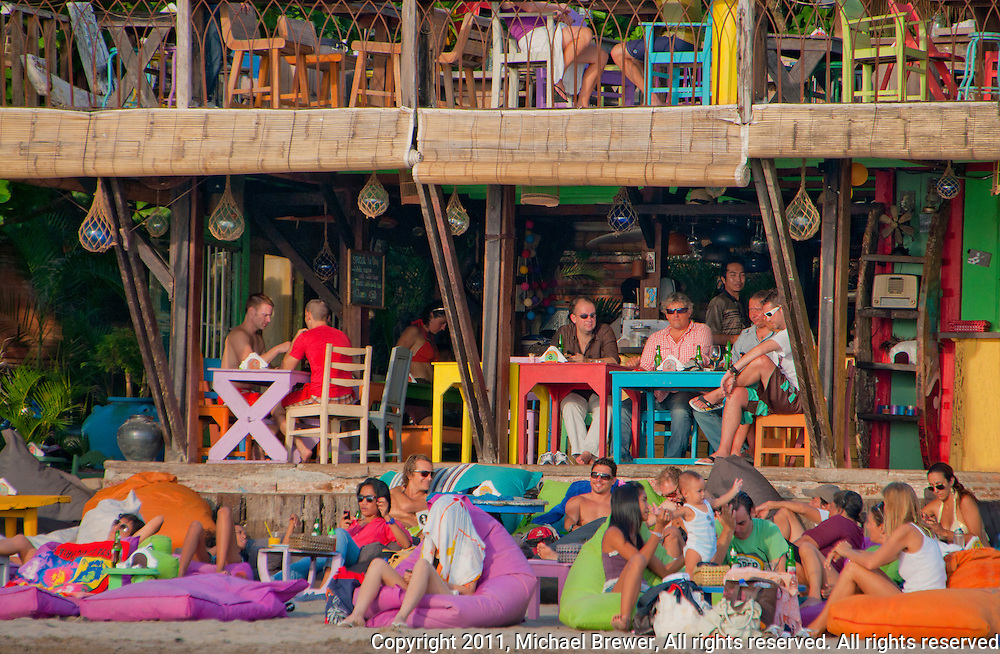 Colorful cafe at Seminyak Beach in Bali, Indonesia
