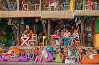 Colorful cafe at Seminyak Beach in Bali, Indonesia