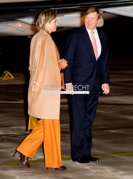 King Willem-Alexander and Queen Maxima of The Netherlands arrive at the airport Velizy-Villacoublay in Paris, France, 9 March 2016. The King and the Queen are in France for an state visit 10 and 11 March. Photo: Robin Utrecht<br /> Koning Willem-Alexander en koningin Maxima arriveren op vliegveld Velizy-Villacoublay. Het koningspaar brengt een tweedaags staatsbezoek aan Frankrijk.