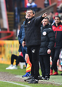 Swindon Town manager Phil Brown pointing, directing, signalling during the EFL Sky Bet League 2 match between Exeter City and Swindon Town at St James' Park, Exeter, England on 24 March 2018. Picture by Graham Hunt.