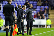 Fulham manager Scott Parker reacts to Reading midfielder John Swift (10) sliding tackle on Fulham midfielder Bobby Reid (14) for which he receives a yellow card during the EFL Sky Bet Championship match between Reading and Fulham at the Madejski Stadium, Reading, England on 1 October 2019.