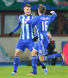 03.10.2013, Ernst Happel Stadion, Wien, AUT, UEFA Europa League, SK Rapid Wien vs Dynamo Kiew, Gruppe G, im Bild Torjubel Andriy Yarmolenko, (Dynamo Kiew, #10) und Sergii Sydorchuk, (Dynamo Kiew, #16) // during a UEFA Europa League group G game between SK Rapid Vienna and Dynamo Kyiv at the Ernst Happel Stadion, Wien, Austria on 2013/10/03. EXPA Pictures © 2013, PhotoCredit: EXPA/ Thomas Haumer