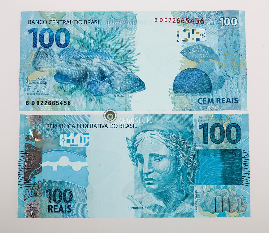 Notas de dinheiro, unidade monetaria brasileira> nota de cem reais/ Banknotes, Brazilian monetary unit.