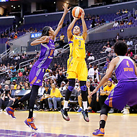 24 August 2014: Los Angeles Sparks forward/center Candace Parker (3) takes a jump shot during the Phoenix Mercury 93-68 victory over the Los Angeles Sparks, in a Conference Semi-Finals at the Staples Center, Los Angeles, California, USA.
