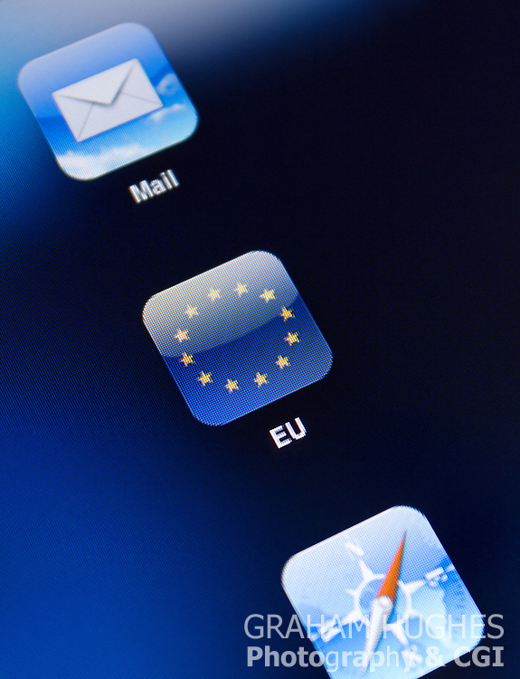 EU Flag App Icon on iPad 2 touch screen.