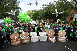 © Licensed to London News Pictures. 14/06/2019. London, UK.  72 white doves are released by survivors, family and friends of the victims following a service is held at St Helen's Church in North Kensington to commemorate the second anniversary of the Grenfell Tower fire. On 14 June 2017, just before 1:00 am a fire broke out in the kitchen of the fourth floor flat at the 24-storey residential tower block in North Kensington, West London, which took the lives of 72 people. More than 70 others were injured and 223 people escaped. Photo credit: Dinendra Haria/LNP