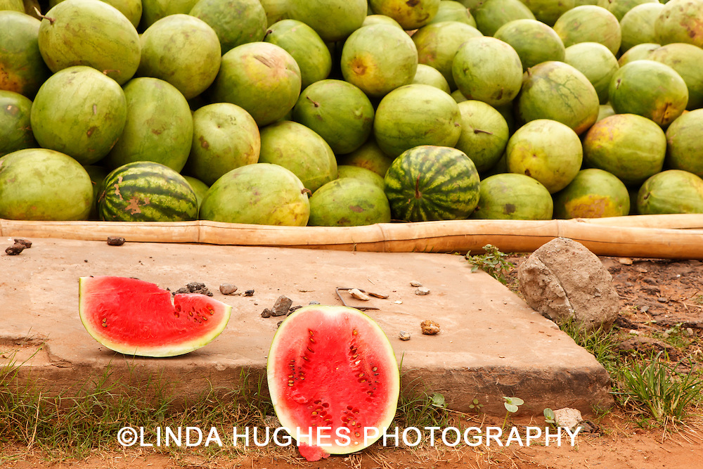 Watermelons at an Outdoor Market in Accra Ghana
