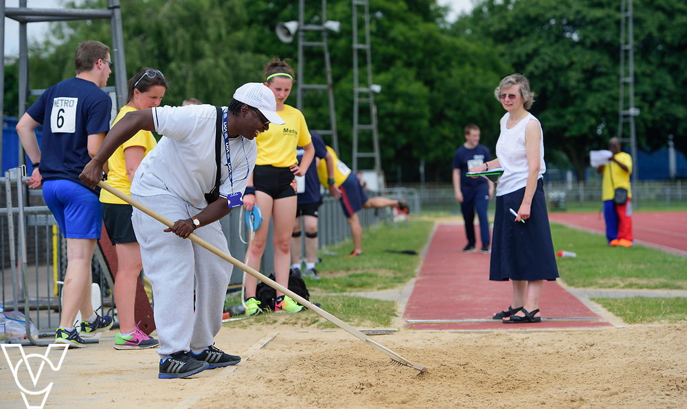 Metro Blind Sport's 2017 Athletics Open held at Mile End Stadium.  Long jump.  Volunteers and officials<br /> <br /> Picture: Chris Vaughan Photography for Metro Blind Sport<br /> Date: June 17, 2017