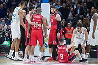 Real Madrid Walter Tavares, Rudy Fernandez and Facundo Campazzo and Baskonia Vitoria Jayson Granger, Tornike Shengelia and Marcelinho Huertas during Turkish Airlines Euroleague match between Real Madrid and Baskonia Vitoria at Wizink Center in Madrid, Spain. January 17, 2018. (ALTERPHOTOS/Borja B.Hojas)