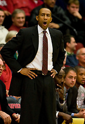 December 16, 2009; Stanford, CA, USA;  Stanford Cardinal head coach Johnny Dawkins during the first half against the Oklahoma State Cowboys at Maples Pavilion.  Oklahoma State defeated Stanford 71-70.