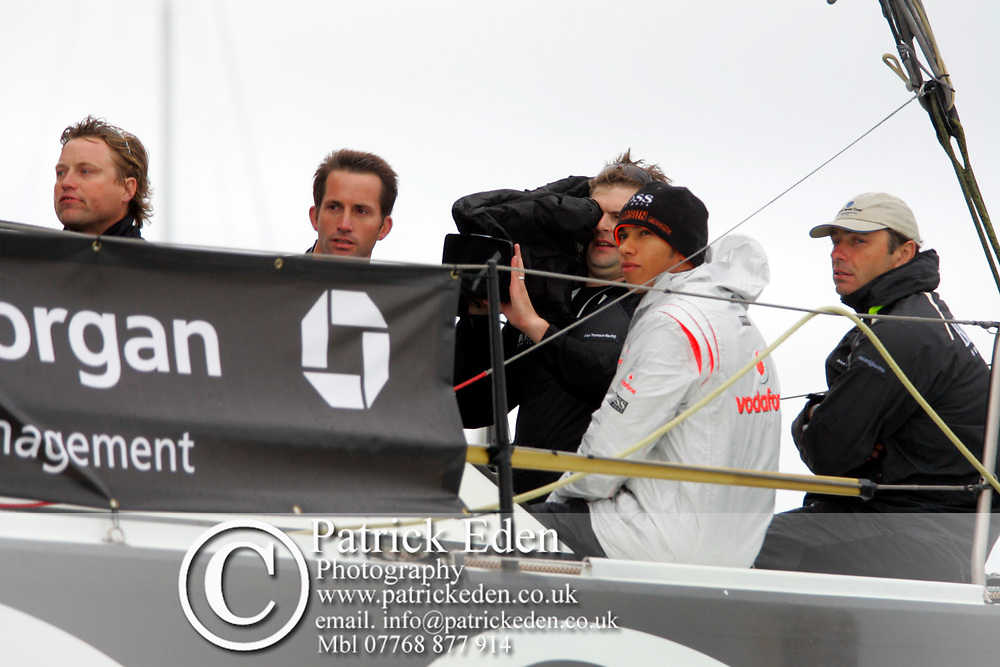 Alex Thomson, Ben Ainsley, Lewis hamilton, Hugo Boss, J P Morgan, Round The Island Race, Start, Cowes, isle of Wight, England, UK Sports Photography