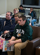 Jacob Sciarratta and his parents, Jay and Jeanette, learn more about Scripps College of Communications Media Arts and Studies programs.