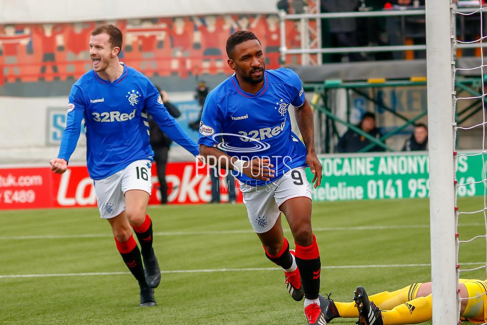 Jermain Defoe wheels away to celebrate Rangers 2nd Goal during the Ladbrokes Scottish Premiership match between Hamilton Academical FC and Rangers at The Hope CBD Stadium, Hamilton, Scotland on 24 February 2019.