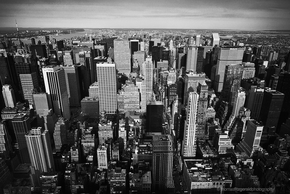 A View of the New York City Skyline facing Central Park. Taken from the Empire State. Black & White