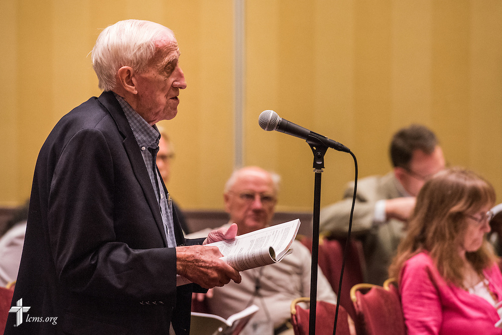 "A delegate at the open hearing of Floor Committee #13 ""Routes to Ministry"" speaks during the 66th Regular Convention of The Lutheran Church–Missouri Synod on Saturday, July 9, 2016, in Milwaukee. LCMS/Michael Schuermann"