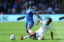 Nathan Dyer of Swansea City tackles Papa Alioune Ndiaye of Stoke City - Mandatory by-line: Nizaam Jones/JMP- 13/05/2018 - FOOTBALL - Liberty Stadium - Swansea, Wales - Swansea City v Stoke City - Premier League