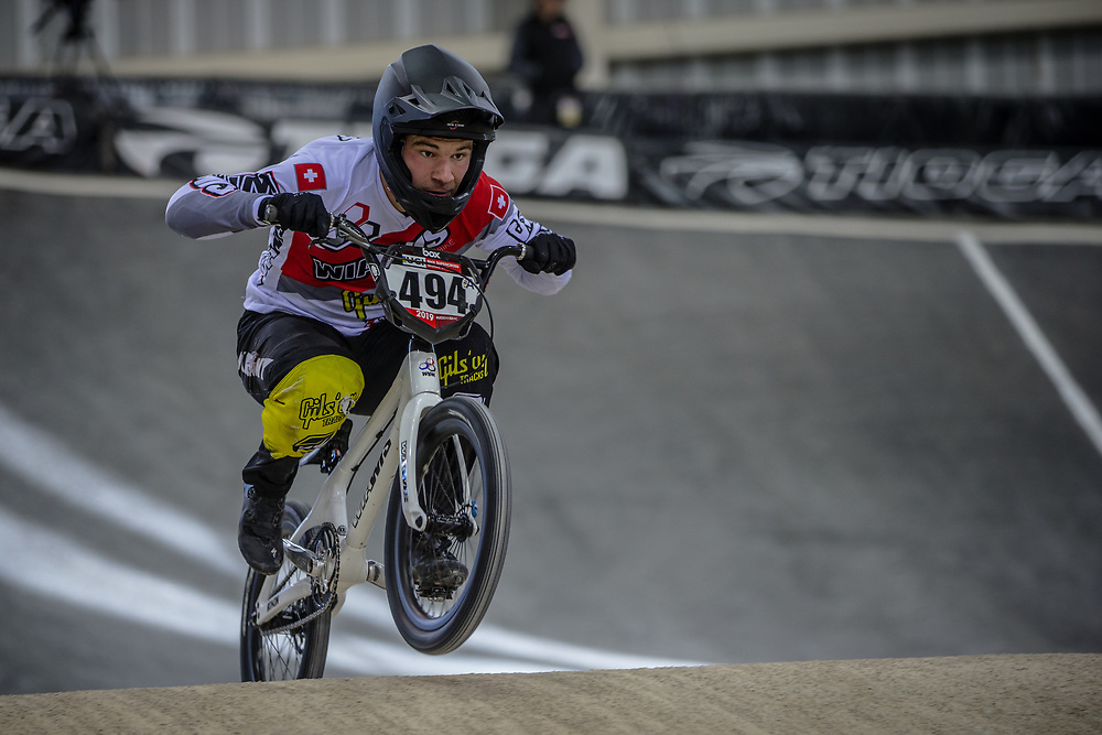 #494 (BRUNNER Gil) SUI at Round 2 of the 2019 UCI BMX Supercross World Cup in Manchester, Great Britain