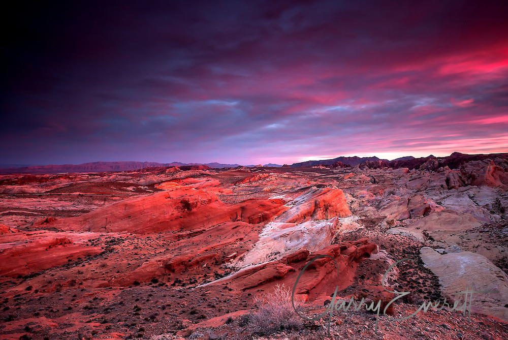 Valley of Fire state park north of Las Vegas. Last light in the cloud which created an eerie glow on the rock formations.