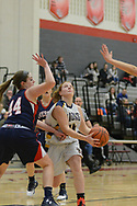 New Hope Solebury's Kelly Hyland (24) drives towards the basket as Riverside's Shelby Slaboda (44) defends in the first quarter Saturday, March 11, 2017 at Upper Dublin High School in Ft. Washington, Pennsylvania. (Photo by William Thomas Cain)