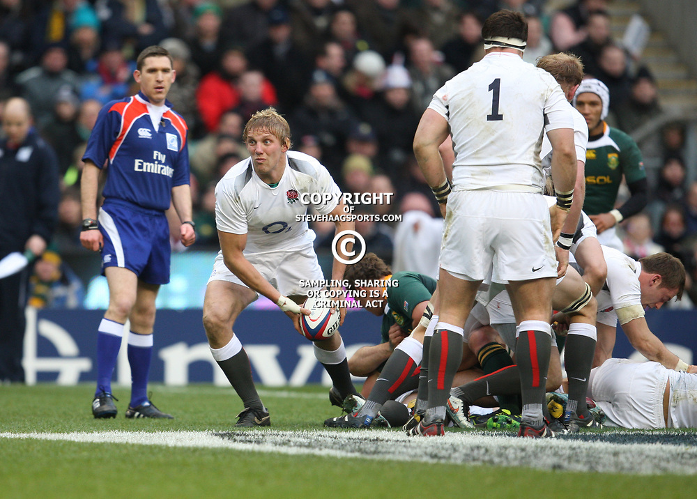 LONDON, ENGLAND - NOVEMBER 27, Lewis Moody Captain gets the ball away during the End of Year tour match between England and South Africa at Twickenham Stadium on November 27, 2010 in London, England<br /> Photo by Steve Haag / Gallo Images