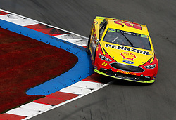 September 30, 2018 - Charlotte, NC, U.S. - CHARLOTTE, NC - SEPTEMBER 30: #22: Joey Logano, Team Penske, Ford Fusion Shell Pennzoil during the running of the Inagural Bank of America ROVAL 400 on Sunday September 30, 2018 at Charlotte Motor Speedway in Concord North Carolina  (Photo by Jeff Robinson/Icon Sportswire) (Credit Image: © Jeff Robinson/Icon SMI via ZUMA Press)