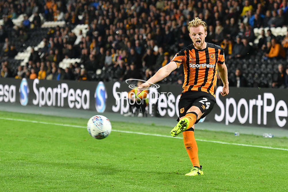 Hull City defender Max Clark (24) crosses ball  during the EFL Sky Bet Championship match between Hull City and Preston North End at the KCOM Stadium, Kingston upon Hull, England on 26 September 2017. Photo by Ian Lyall.