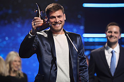 October 16, 2018 - Nashville, TN, U.S. - NASHVILLE, TN - OCTOBER 16: Cory Asbury wins Song of the Year at the 49th Annual Dove Awards on October 16, 2018, at Allen Arena in Nashville, TN. (Photo by Jamie Gilliam/Icon Sportswire) (Credit Image: © Jamie Gilliam/Icon SMI via ZUMA Press)