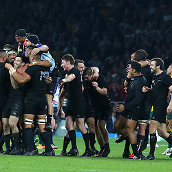 LONDON, ENGLAND - OCTOBER 31:  New Zealand players after the win over Australia during the Rugby World Cup Final match between New Zealand vs Australia Final, Twickenham, London on October 31, 2015 in London, England. (Photo by Steve Haag)