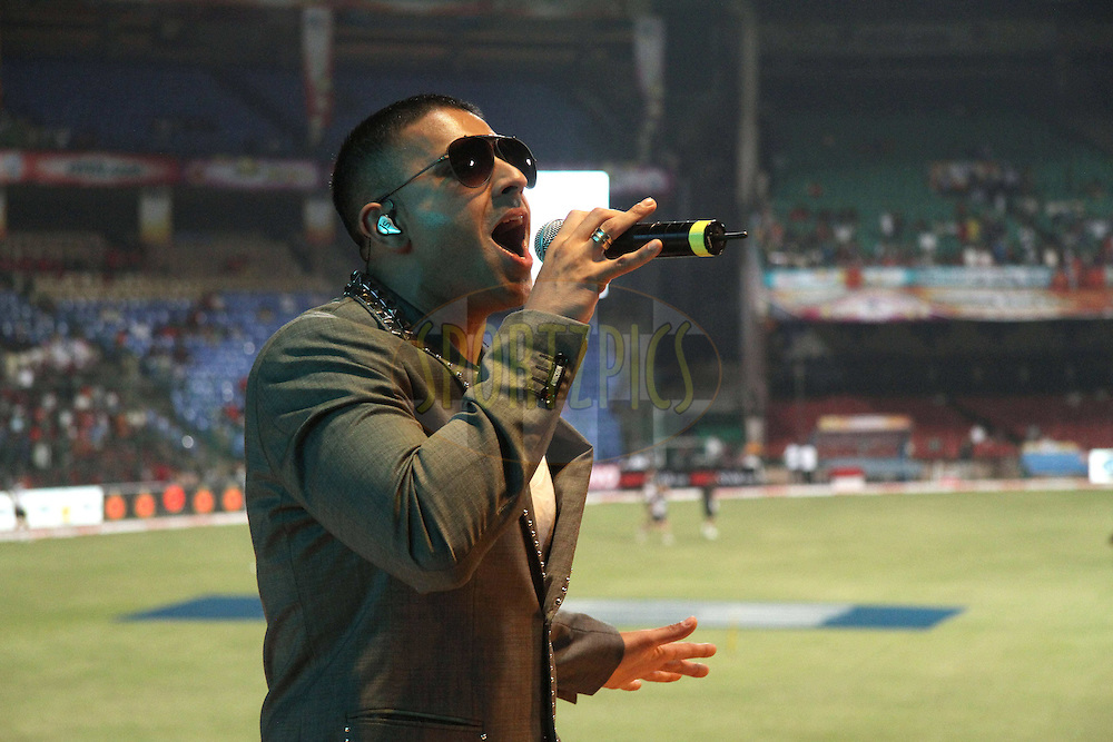 Jay Sean performs before the start during match 1 of the NOKIA Champions League T20 ( CLT20 )between the Royal Challengers Bangalore and the Warriors held at the  M.Chinnaswamy Stadium in Bangalore , Karnataka, India on the 23rd September 2011..Photo by Shaun Roy/BCCI/SPORTZPICS