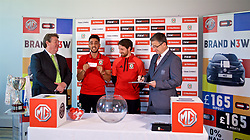 CARDIFF, WALES - Thursday, August 31, 2017: Nathaniel Cars' Wayne Griffiths, Neil Taylor, Joe Allen and Gwen Derfel during the 2nd round draw for the FAW Welsh Premier League Cup at the Vale Resort. (Pic by David Rawcliffe/Propaganda)