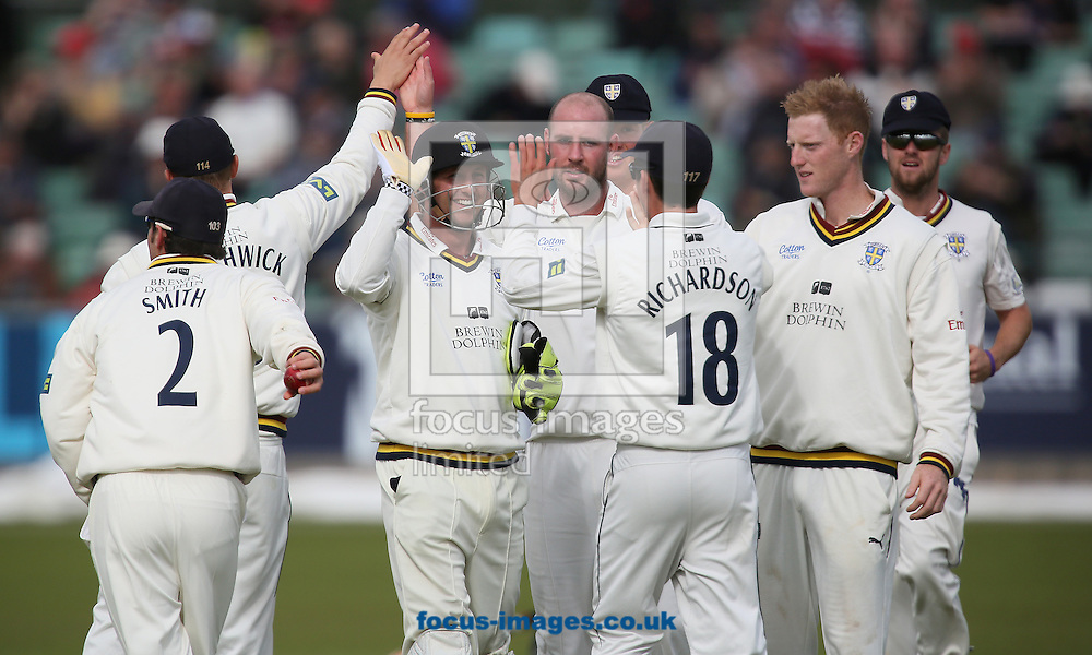 Picture by Paul Gaythorpe/Focus Images Ltd +447771 871632<br /> 18/09/2013<br /> Durham County Cricket Club players celebrate bowler Chris Rushworth taking the wicket of Matthew Wessels of Nottinghamshire County Cricket Club during the LV County Championship Div One match at Emirates Durham ICG, Chester-le-Street.