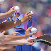 Fans clamour for autographs from pitcher Clayton Kershaw, Los Angeles Dodgers, before the New York Mets Vs Los Angeles Dodgers MLB regular season baseball game at Citi Field, Queens, New York. USA. 26th July 2015. Photo Tim Clayton