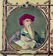 John Wycliffe (c1329-1384)  English  theologian and religious reformer.  Initiated and contributed to the translation of the Bible from Latin into English.   A precursor of the Reformation. Coloured lithograph.